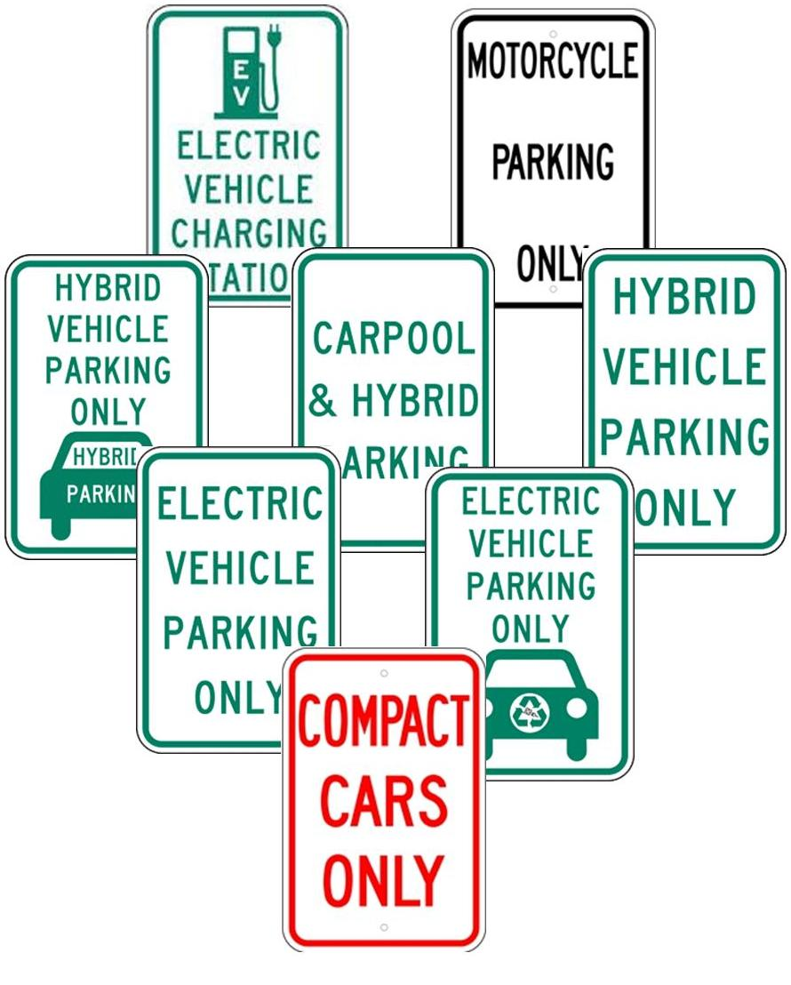 PARKING FOR ELECTRIC VEHICLES, MOTORCYCLES, COMPACT CARS, CARPOOL, ETC