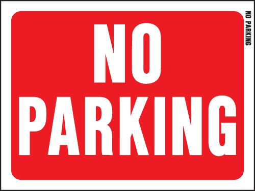 "Image logo for 12"" x 9"" Red/ White Plastic Sign:  NO PARKING"