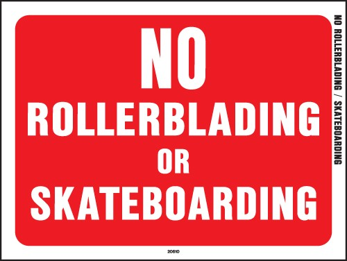 "Image logo for 12"" x 9"" Red/ White Plastic Sign:  NO ROLLERBLADING OR SKATEBOARDING"