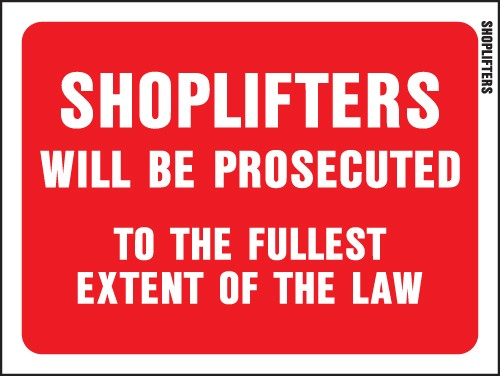 "Image logo for 12"" x 9"" Red/ White Plastic Sign:  SHOPLIFTERS WILL BE PROSECUTED...."
