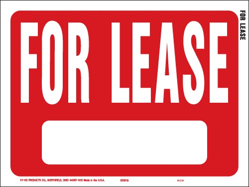 "Image logo for 12"" x 9"" Red/ White Plastic Sign:  FOR LEASE (w/ Blank Info Box)"
