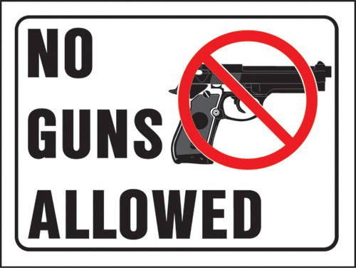 "Image logo for 12"" x 9"" Hy-Glo Plastic Sign:  NO GUNS ALLOWED"