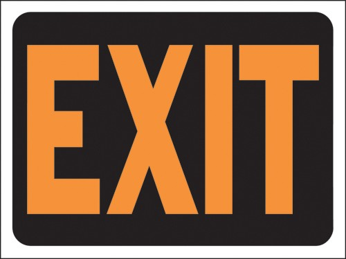 "Image logo for 12"" x 9"" Hy-Glo Plastic Sign:  EXIT"