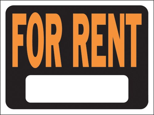 """Image logo for 12"""" x 9"""" Hy-Glo Plastic Sign:  FOR RENT (w/ Blank Info Box)"""