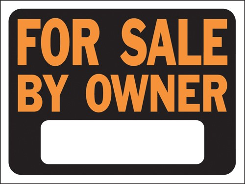 "Image logo for 12"" x 9"" Hy-Glo Plastic Sign:  FOR SALE BY OWNER (w/ Blank Info Box)"