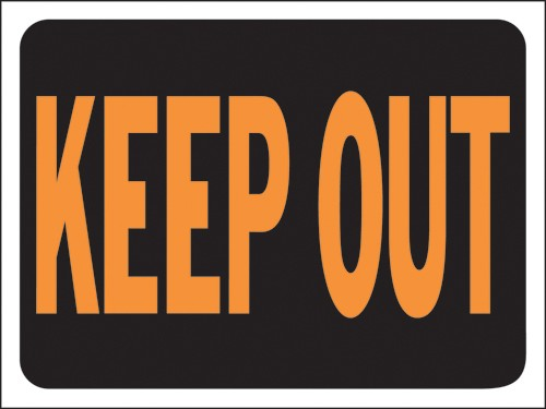 "Image logo for 12"" x 9"" Hy-Glo Plastic Sign:  KEEP OUT"