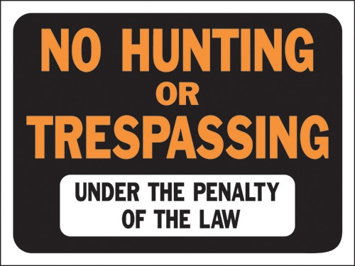 "Image logo for 12"" x 9"" Hy-Glo Plastic Sign:  NO HUNTING OR TRESPASSING...."
