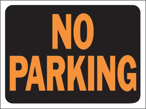 """Image logo for 12"""" x 9"""" Hy-Glo Plastic Sign:  NO PARKING"""