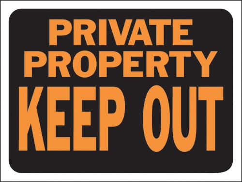 "Image logo for 12"" x 9"" Hy-Glo Plastic Sign:  PRIVATE PROPERTY - KEEP OUT"