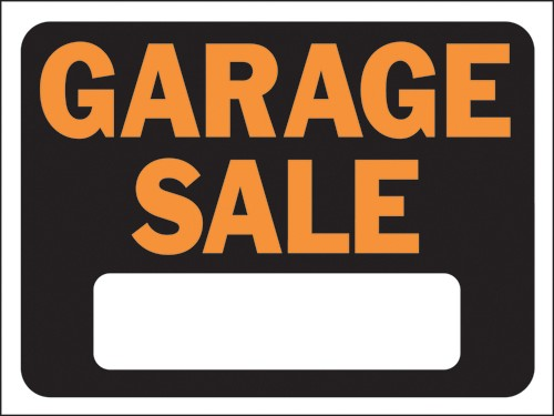 "Image logo for 12"" x 9"" Hy-Glo Plastic Sign:  GARAGE SALE (w/ Blank Info Box)"