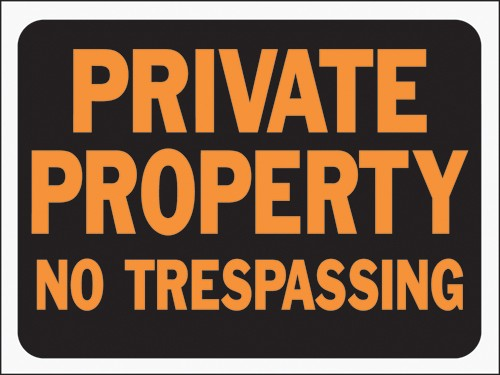 "Image logo for No Trespassing Signs | 12"" x 9"" Hy-Glo Plastic Sign:  PRIVATE PROPERTY - NO TRESPASSING"