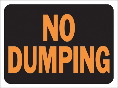 "Image logo for 12"" x 9"" Hy-Glo Plastic Sign:  NO DUMPING"