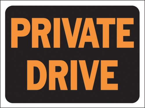 """Image logo for 12"""" x 9"""" Hy-Glo Plastic Sign:  PRIVATE DRIVE"""
