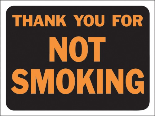 "Image logo for 12"" x 9"" Hy-Glo Plastic Sign:  THANK YOU FOR NOT SMOKING"