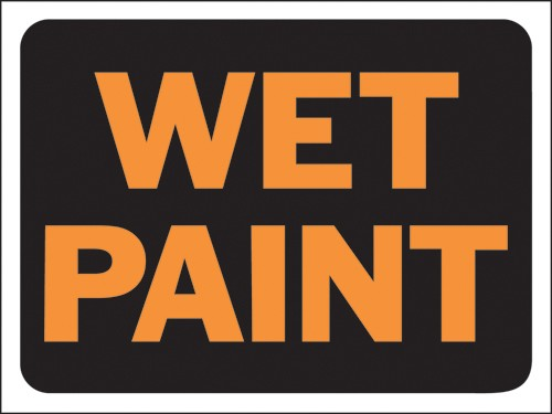 "Image logo for 12"" x 9"" Hy-Glo Plastic Sign:  WET PAINT"