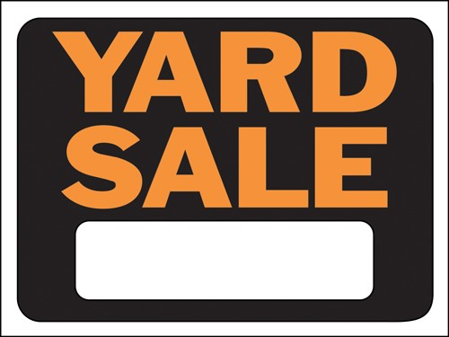 "Image logo for 12"" x 9"" Hy-Glo Plastic Sign:  YARD SALE (w/ Blank Info Box)"