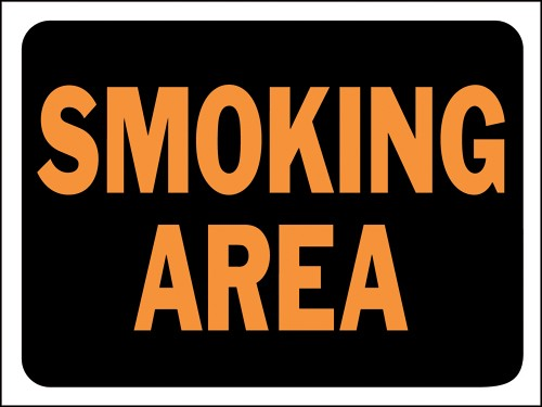 "Image logo for 12"" x 9"" Hy-Glo Plastic Sign:  SMOKING AREA"