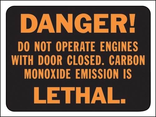 "Image logo for 12"" x 9"" Hy-Glo Plastic Sign:  DANGER - DO NOT OPERATE ENGINES...."