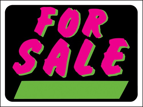 "Image logo for 12"" x 9"" Hy-Glo - Multi-Colored - Plastic Sign:  FOR SALE (w/ Green Info Box)"