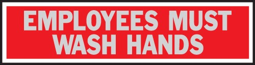 "Image logo for 8"" x 2"" Aluminum Princess Sign: EMPLOYEES MUST WASH HANDS"