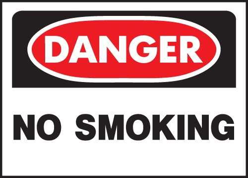 "Image logo for 14"" x 10"" Heavy-Duty Polyethylene OSHA Sign:  DANGER - NO SMOKING"