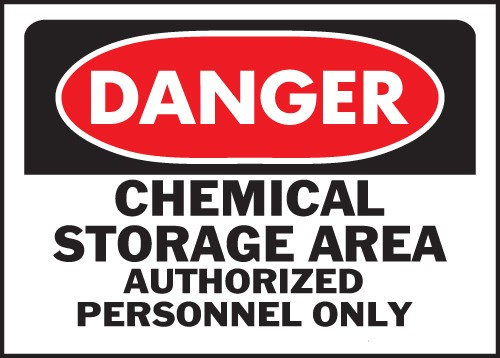 "Image logo for 14"" x 10"" Heavy-Duty Polyethylene OSHA Sign:  DANGER - CHEMICAL STORAGE AREA...."