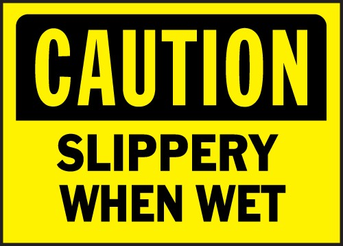 "Image logo for 14"" x 10"" Heavy-Duty Polyethylene OSHA Sign: CAUTION - SLIPPERY WHEN WET"