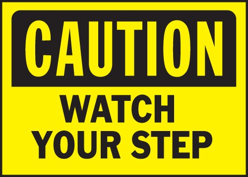 "Image logo for 14"" x 10"" Heavy-Duty Polyethylene OSHA Sign: CAUTION - WATCH YOUR STEP"