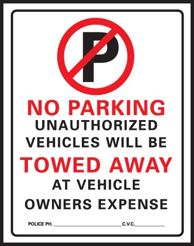 "Image logo for No Parking Signs | 15"" x 19"" Heavy-Duty Plastic Sign:  NO PARKING - UNAUTHORIZED VEHICLES......"