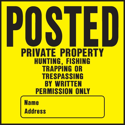"Image logo for 11"" x 11"" Heavy-Duty Plastic Sign: POSTED - PRIVATE PROPERTY.... (w/ blank info box)"