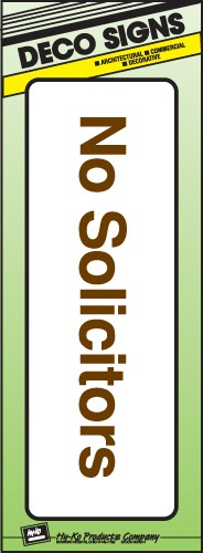 "Image logo for 9"" x 3"" DECO Sign:  NO SOLICITORS"