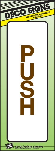 "Image logo for 3"" x 9"" DECO Sign: PUSH"