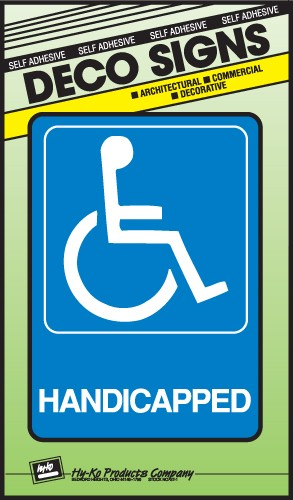 "Image logo for 5"" x 7"" DECO Sign:  HANDICAPPED (Wheelchair Accessible - International Symbol)"