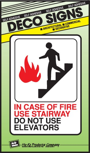 "Image logo for 5"" x 7"" DECO Sign:  IN CASE OF FIRE...."