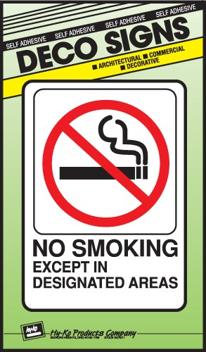 "Image logo for 5"" x 7"" DECO Sign:  NO SMOKING EXCEPT...."