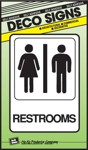 "Image logo for 5"" x 7"" DECO Sign:  RESTROOMS"