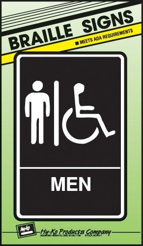 "Image logo for 6"" x 9"" Braille / Tactile Sign:  MEN (Wheelchair Accessible)"