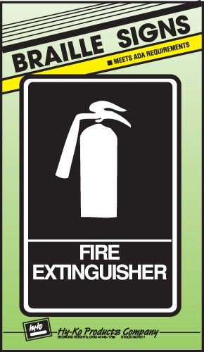 "Image logo for 6"" x 9"" Braille / Tactile Sign:  FIRE EXTINGUISHER"