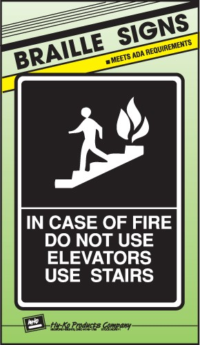"Image logo for 8"" x 11"" Braille / Tactile Sign:  IN CASE OF FIRE....."