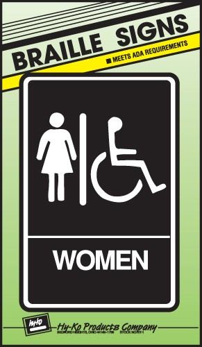 """Image logo for 6"""" x 9"""" Braille / Tactile Sign:  WOMEN (Wheelchair Accessible)"""