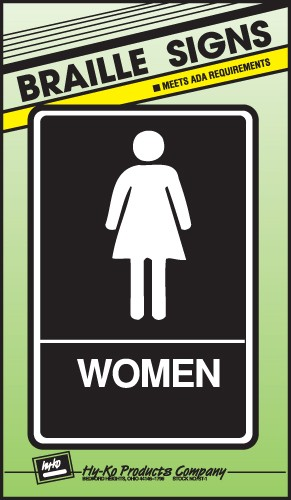 "Image logo for 6"" x 9"" Braille / Tactile Sign:  WOMEN"