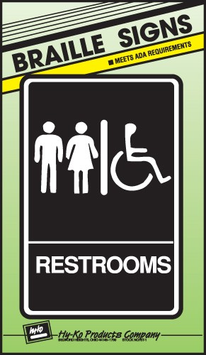 "Image logo for 6"" x 9"" Braille / Tactile Sign:  RESTROOMS (Wheelchair Accessible)"