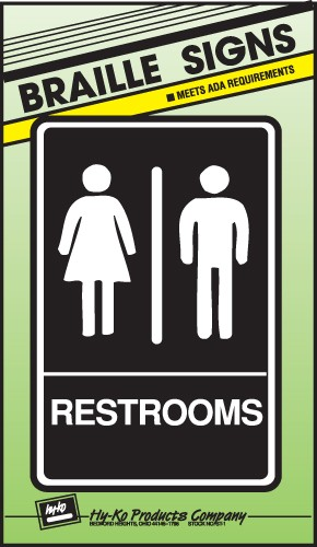 """Image logo for 6"""" x 9"""" Braille / Tactile Sign:  RESTROOMS"""