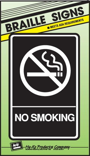 """Image logo for 6"""" x 9"""" Braille / Tactile Sign:  NO SMOKING"""
