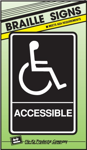 """Image logo for 6"""" x 9"""" Braille / Tactile Sign:  ACCESSIBLE"""