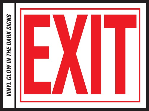 "Image logo for 10"" x 8"" Self-Adhesive Vinyl Safety Sign:  EXIT"