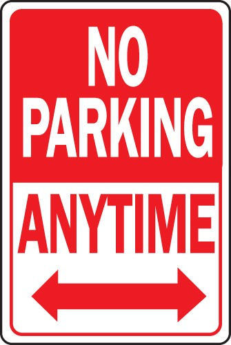 "Image logo for 12"" x 18"" x 0.040 Aluminum Sign: NO PARKING ANY TIME W/ DOUBLE ARROW"