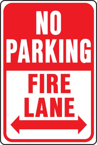 "Image logo for 12"" x 18"" x 0.040 Aluminum Sign: NO PARKING - FIRE LANE W/ DOUBLE ARROW"