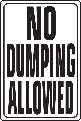 "Image logo for 12"" x 18"" x 0.040 Aluminum Sign: NO DUMPING ALLOWED"