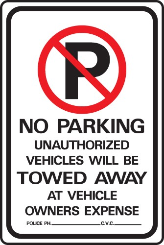 "Image logo for No Parking Signs | 12"" x 18"" x 0.040 Aluminum Sign:  NO PARKING - UNAUTHORIZED VEHICLES..."
